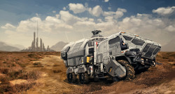 A cargo hauler transports goods from a settlement